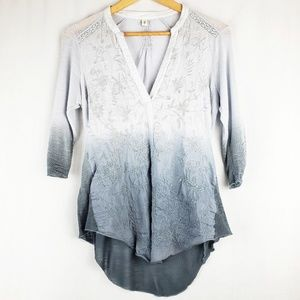 Anthropologie Tiny Embroidered Dip Dyed Top
